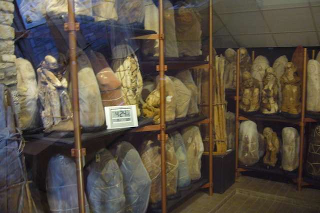 The temperature-controlled mummies' room, highlight of the Leymebamba Museum.