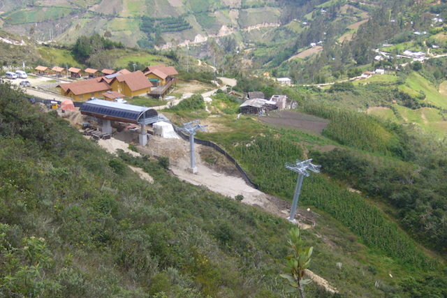 The entrance to Kuelap with the cable car station under construction.