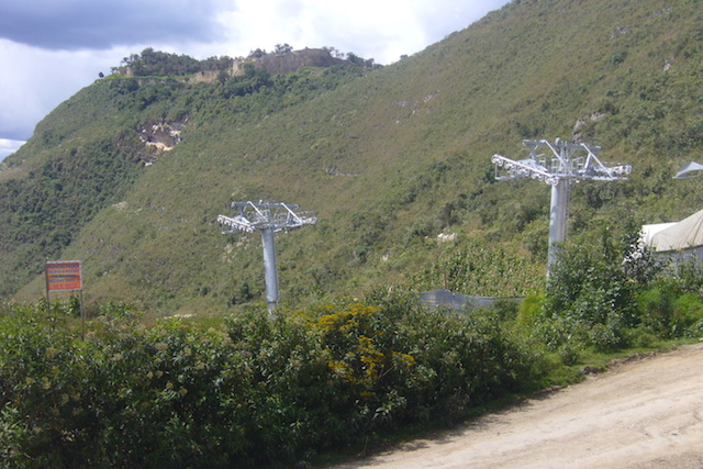 Kuelap Cable Car from Entrance.JPG