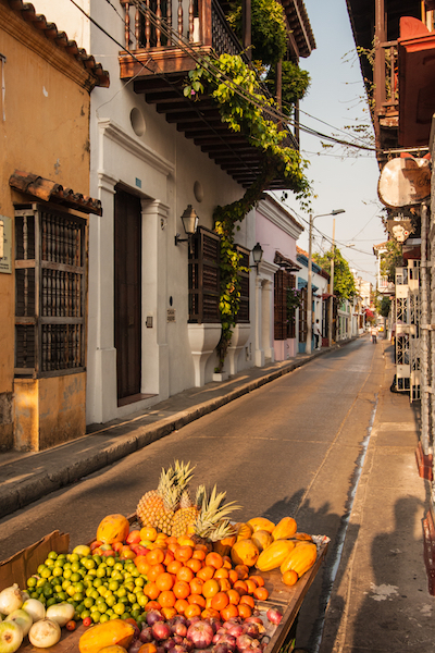 Colombian Highlights - Cartagena - Colonial Street with Fruit Cart.jpg
