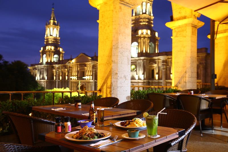 Arequipa & Colca Canyon 4D - Dinner overlooking Plaza de Armas.JPG