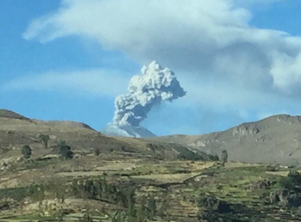 Dallas, Elana x 2 - Arequipa & Colca - Erupting Volcano.JPG