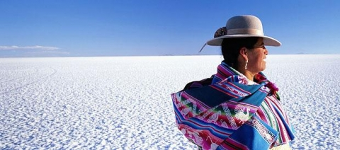 La Paz - Uyuni - Aymara Lady on Salt Flats