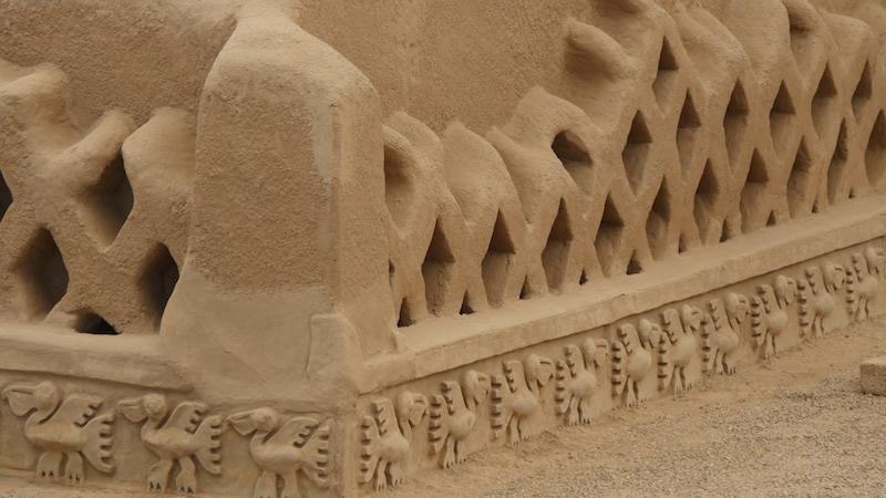 Chiclayo - Trujillo - Chan Chan Pelican & Fish Net Carvings.JPG