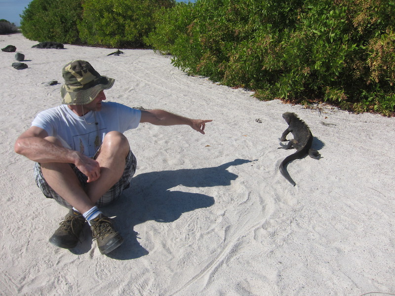 Galapagos Islands 5D - Pointing at Iguana.jpg