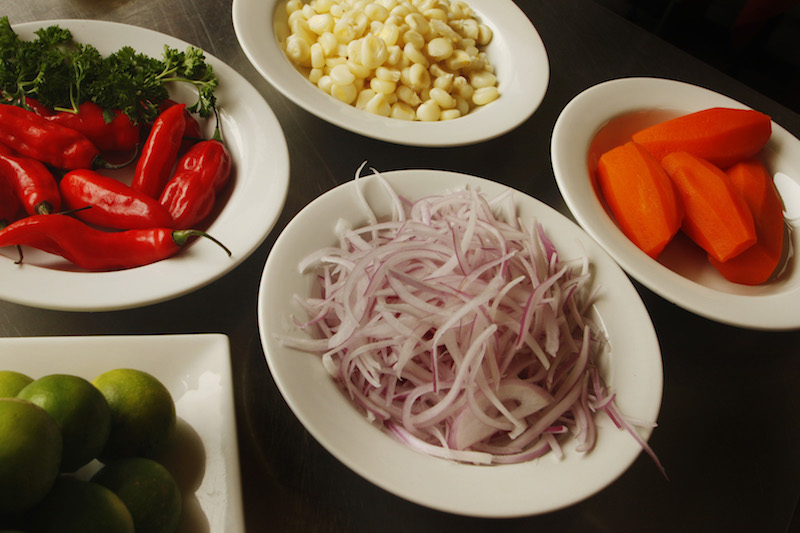 Ceviche ingredients.