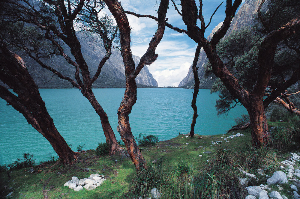 The turquoise waters of Llanganuco Lake in the Cordillera Blanca.