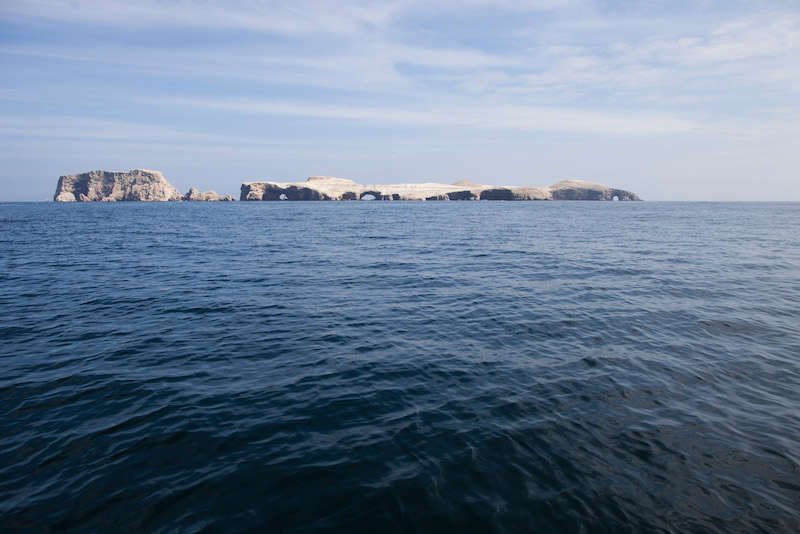Ballestas Islands with distinctive white covering of guano.