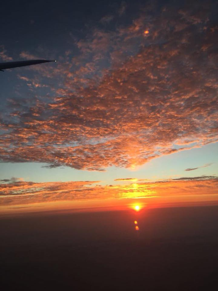 Sunset 🌅 approaching  Lima . Landed safely. (Taken by the hubby)