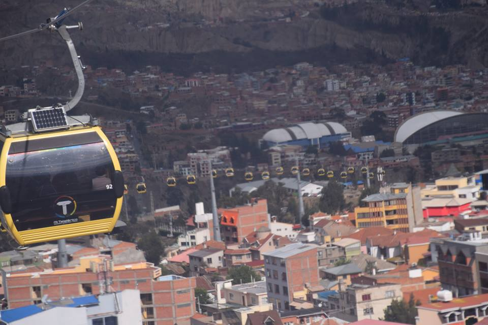 La Paz's cable car, with views over the city.