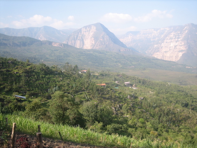 View of Gocta Lodge set against the Utcubamba Valley.