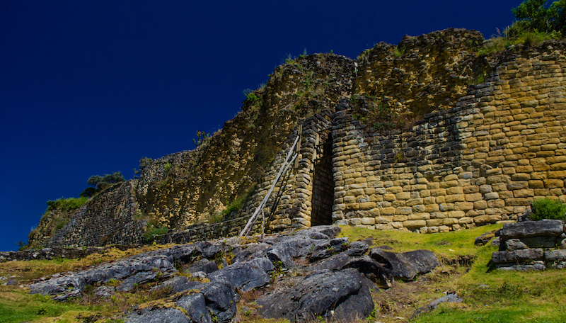 The impressive outer wall of Kuelap, with narrow entrance way.