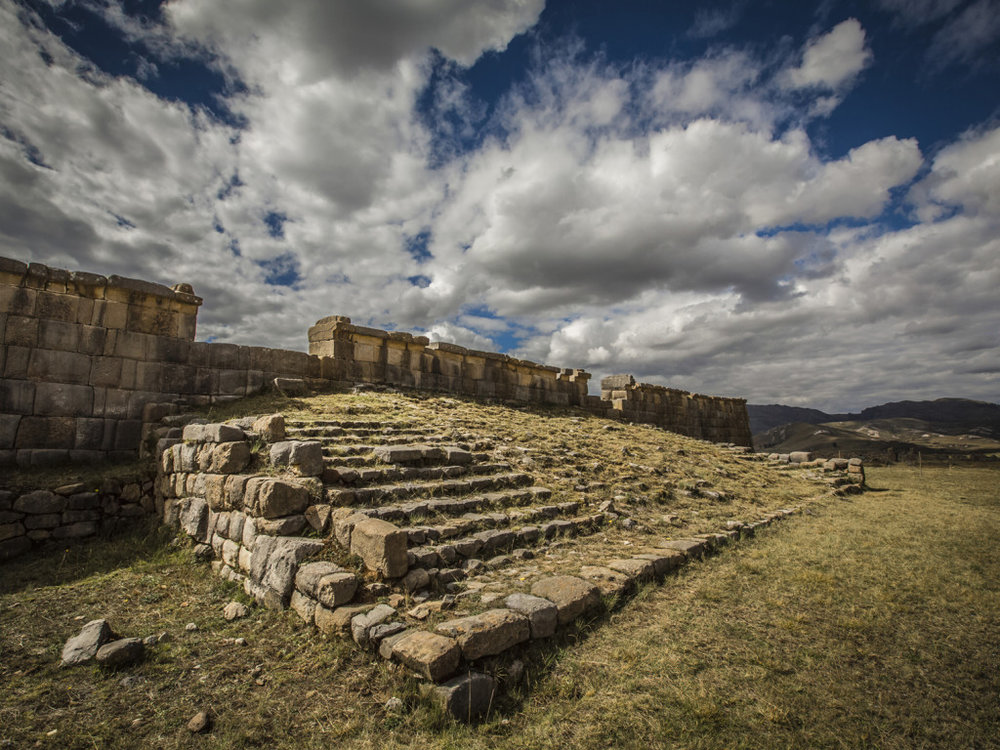 Steps up to  ushnu  at Huanuco Pampa ruin.