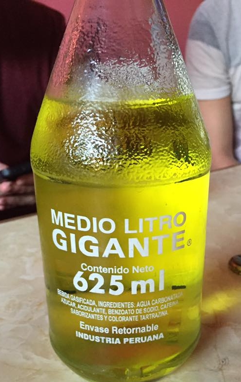 A 'giant' half-litre bottle of Inca Kola.