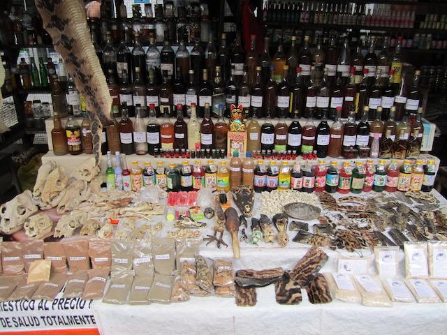 Medicines & liquors in Belen Market, Iquitos.