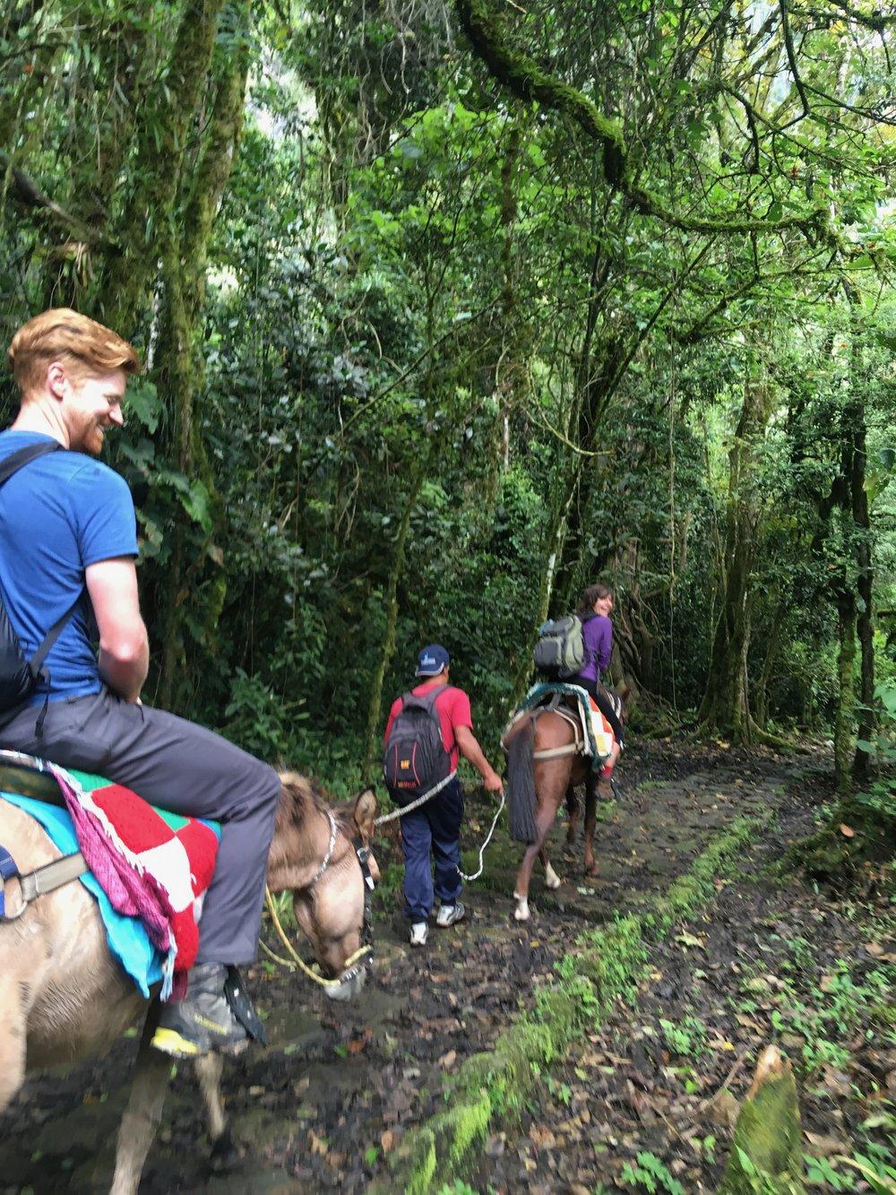 Riding horses to Gocta Falls.