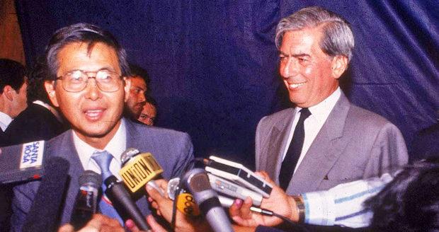 Mario Vargas Llosa with now-disgraced Alberto Fujimori.