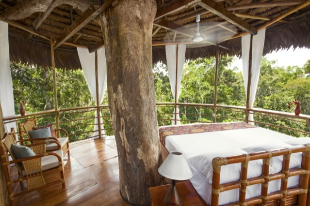 Tree house - Daily Rate: from £186 / $237 ppDistance from Iquitos?89km (55mi) upstream✔ Protected Area✘ A/C✔ Private Bathrooms✘ Electricity✘ WiFi✘ Swimming pool✔ Canopy Walkway✘ Zip-Lining