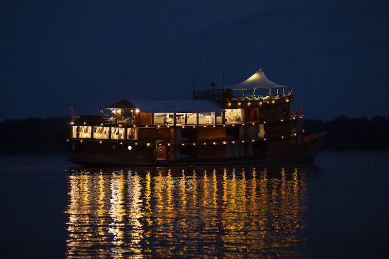 R&F Amazon Cruise ship at night.