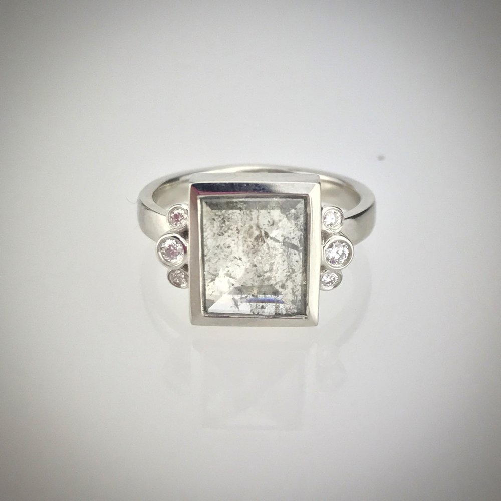 Salt and Pepper Diamond and Platinum Ring