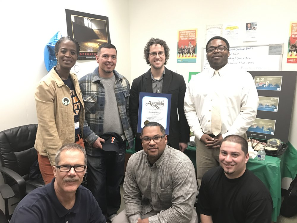 Project Rebound Director, Dr. Brady Heiner receives California Legislature recognition for his work with formerly incarcerated students at Cal State University, Fullerton.