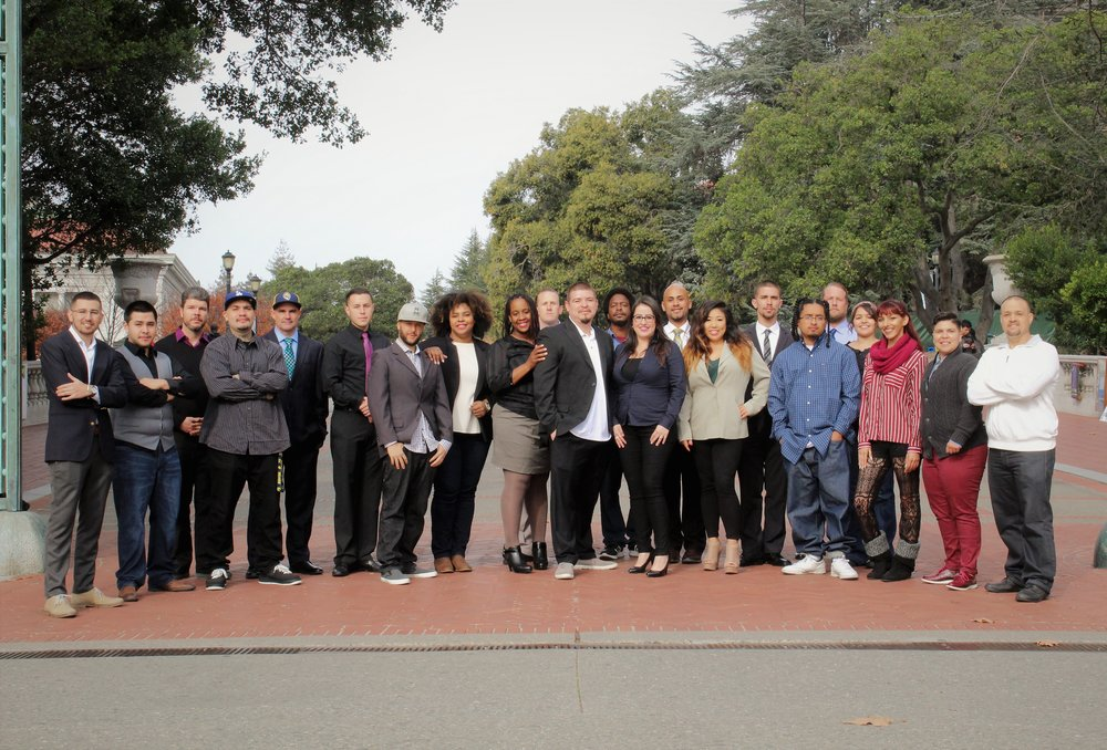 Professional development day and group photo with students and staff members of the Berkeley Underground Scholars.