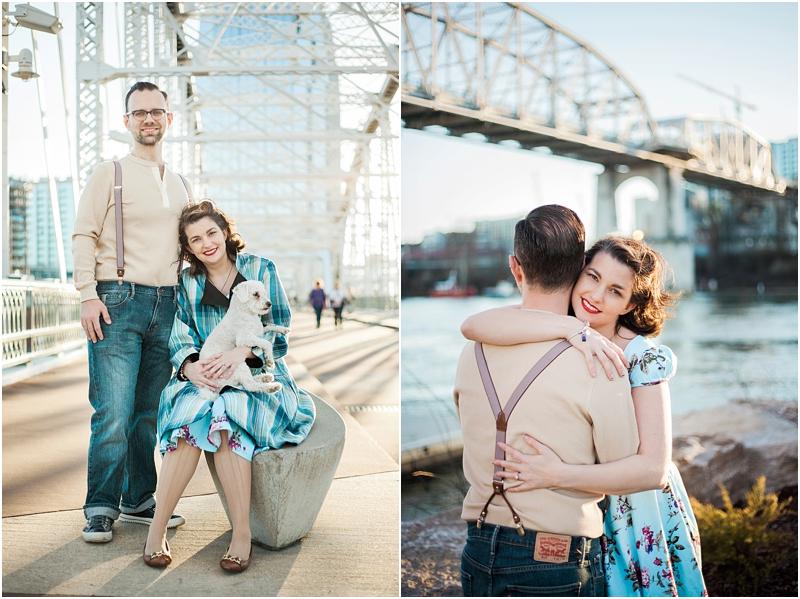 Ammi & Daniel at Downtown Nashville, Tennessee. Left John Seigenthaler Pedestrian Bridge. Right Cumberland River Park.