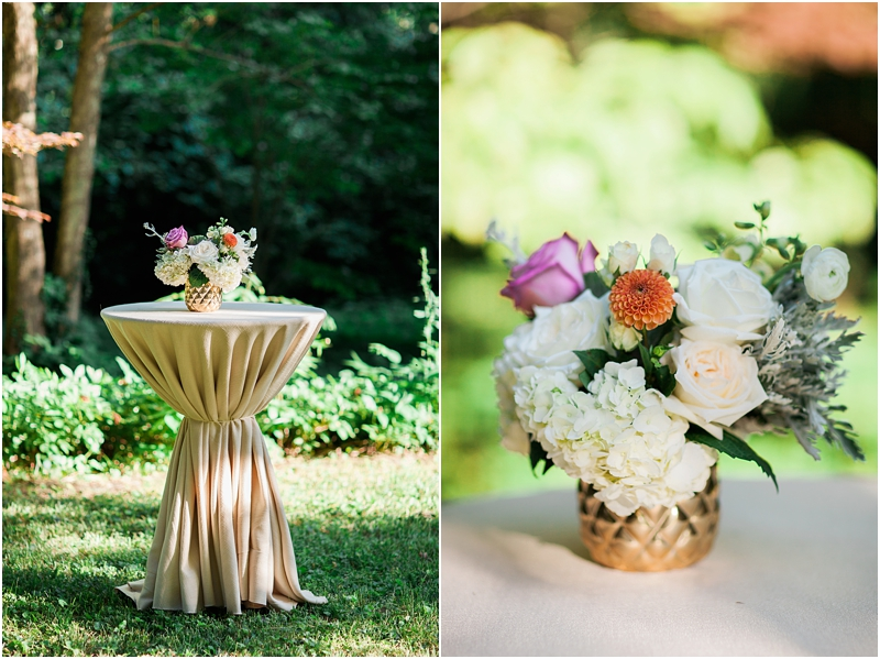Gold tables and floral center pieces made the backyard wedding so Elegant.