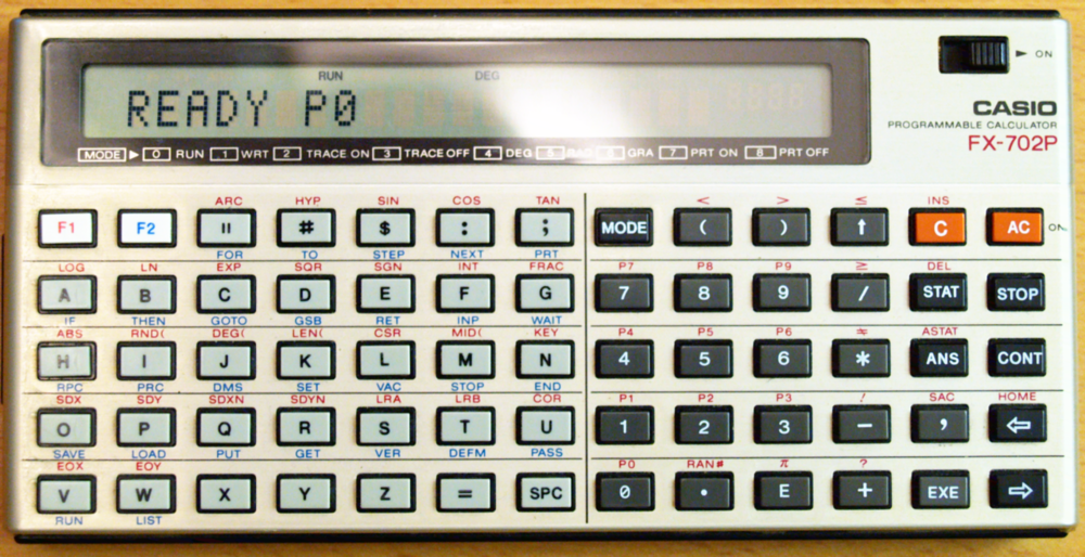 Image retrieved from  https://commons.wikimedia.org/wiki/File:Casio FX-702P Programmable_Calculator.png