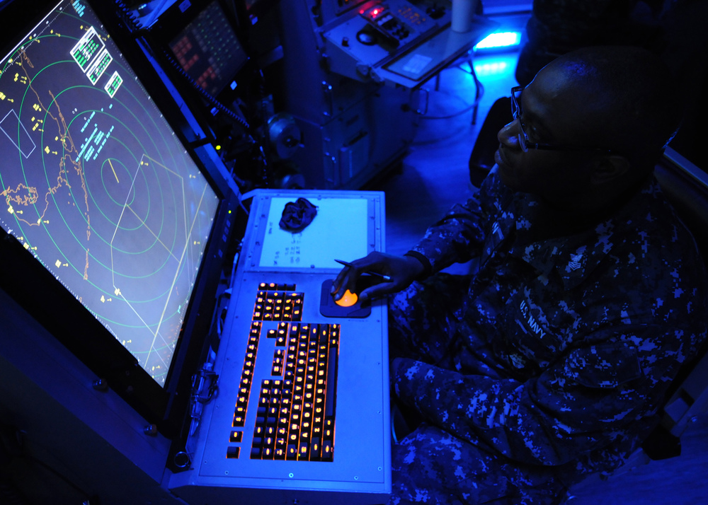 Creative Commons. Retrieved from < https://upload.wikimedia.org/wikipedia/commons/f/fb/US Navy 120208-N-TU894-017 Air-Traffic Controller 1st Class Justin S. Brown tracks incoming aircraft from the carrier air traffic control center ab.jpg >