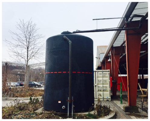 One of the 14 cisterns catching rainwater at Evergreen Brick Works