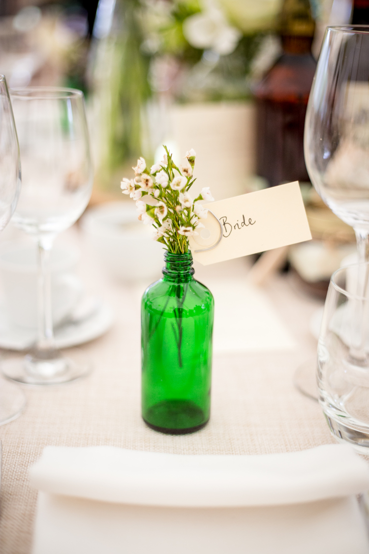 tablescape greenery little jars wedding styling