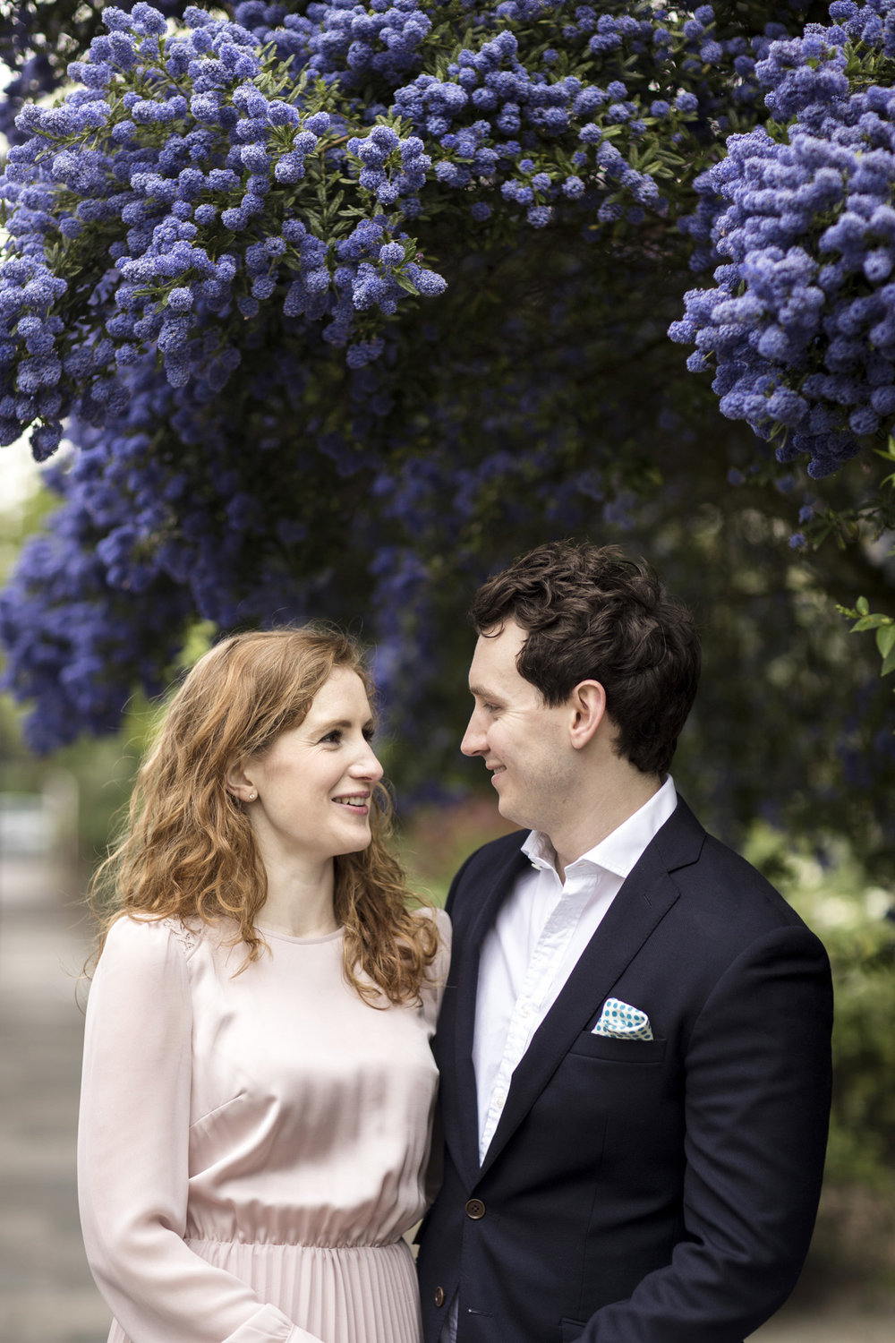 floral spring engagement shoot