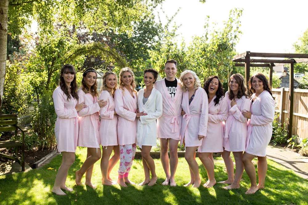 bridesmaids, morning prep, group, pink, summer wedding, bedfordshire wedding,