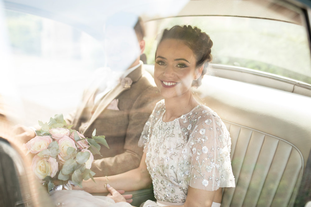 Car, Bride, Wedding Day, Buckinghamshire Wedding, Needle and Thread.