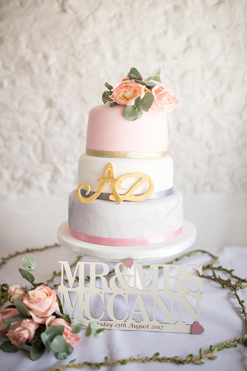 Wedding Cake, Personalised, Pastel Colours, Flowers,