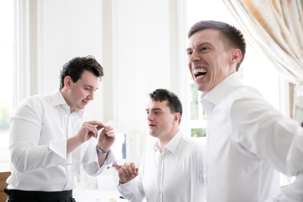 Grooms Men, Grooms Prep, Cufflinks, Laughing, Chicheley Hall,