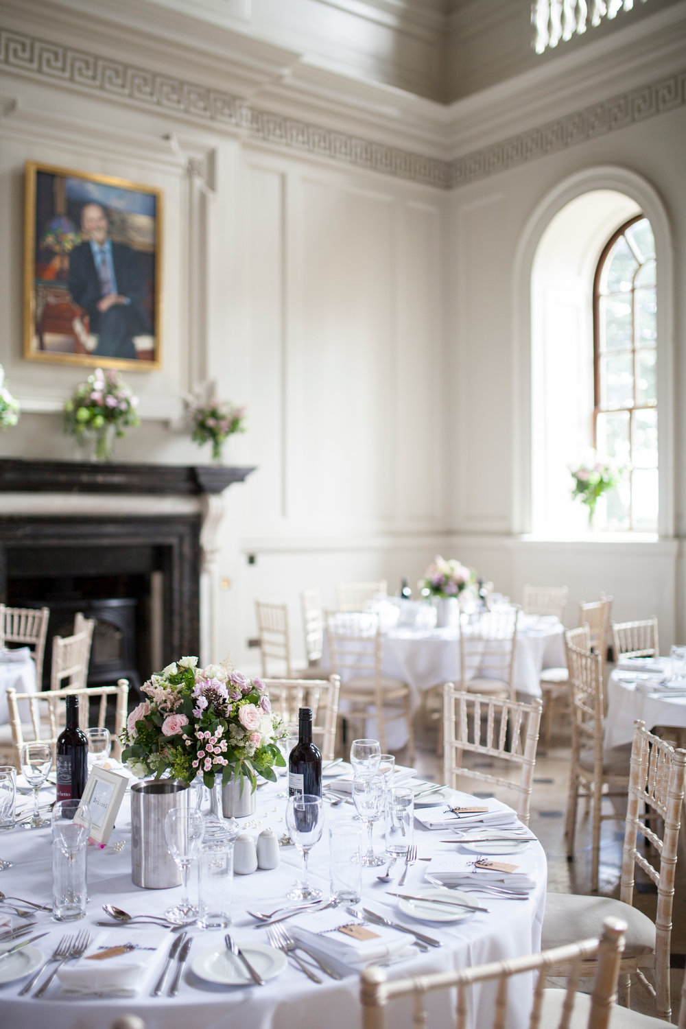 table scape, white, Chicheley Hall, flower scape, styling, Buckinghamshire Wedding,