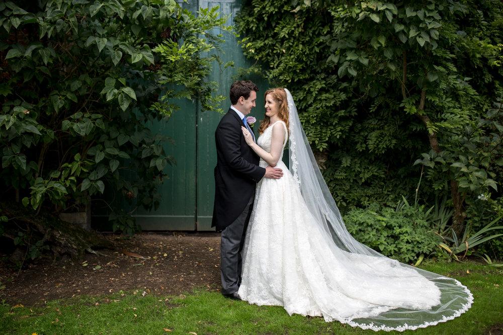 Greenery, Bridal Veil, Bride & Groom, Chicheley Hall,
