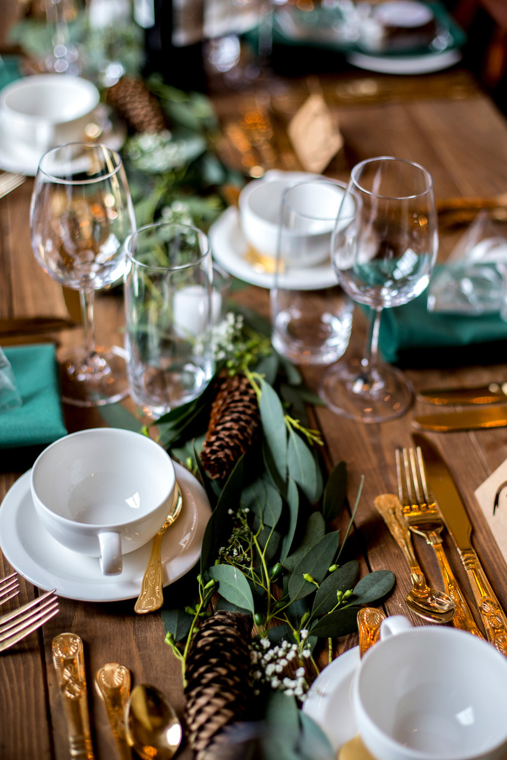 Table Scape, Pine Cones, Natural Foliage, Autumn Wedding,