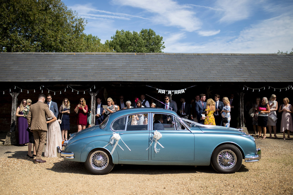 classic pale blue jaguar wedding car.jpg