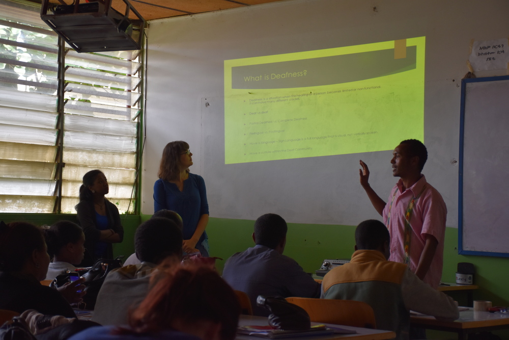 """One of our visiting volunteer Interpreters helping to deliver lectures on """"Professional Interpreting"""" and """"Introduction to Audiology"""" at Bahir Dar University (August 2015)."""