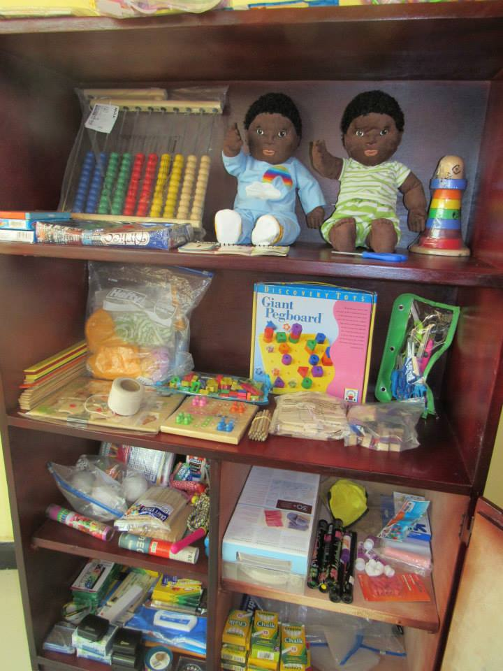 Some toys, games, books, and supplies regularly available for learning & play activities at the Center.