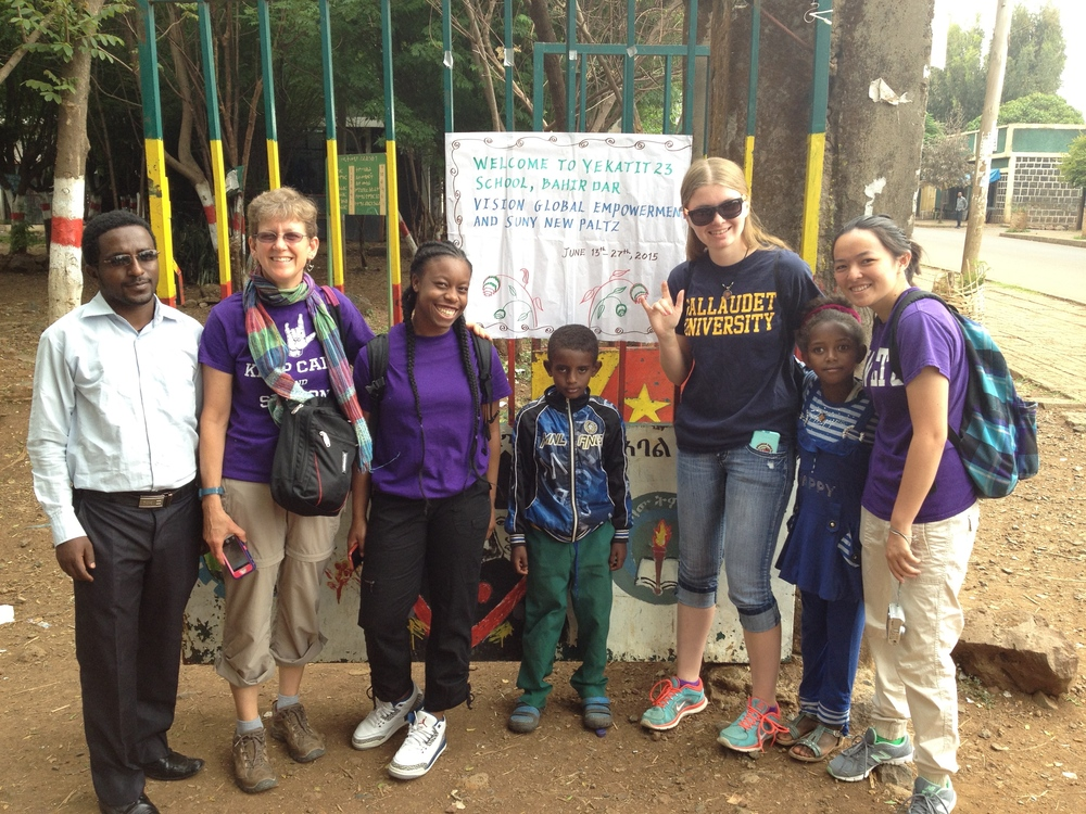 Prof. Rebecca Swenson and some of her students from SUNY New Paltz (New York, USA) visiting Yekatit 23 School as part of a 2-week service-learning trip (June 2015).