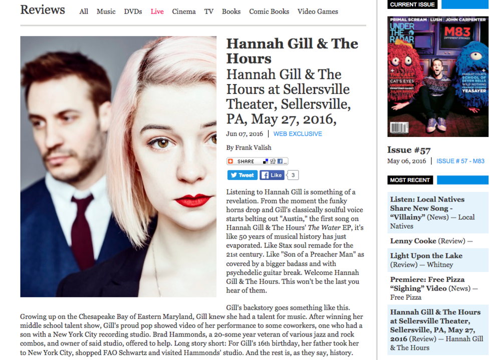 """Like ""Son of a Preacher Man"" as covered by a bigger badass and with psychedlic guitar break.  Welcome Hannah Gill and the Hours.  This won't be the last your hear of them..."" READ MORE"