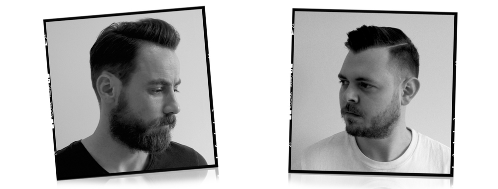 Left: Side part pompadour styled using Native Products Pomade. Right: Undercut Side Part styled using Native Products Moulding Clay