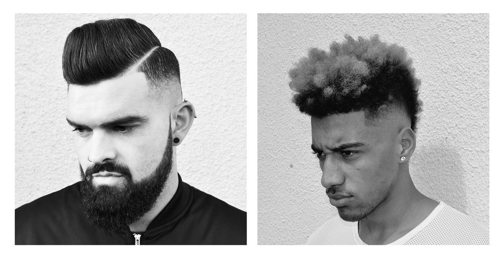 1.High pomp with hard line, styled using varied hot and cold techniques with a quiff roller to get the height then using a dry type clay and hairspray for hold.    2.I love doing Afro hair for the simple reason you know what your getting with your fade, I styled this pretty effortlessly using a Twist Sponge.