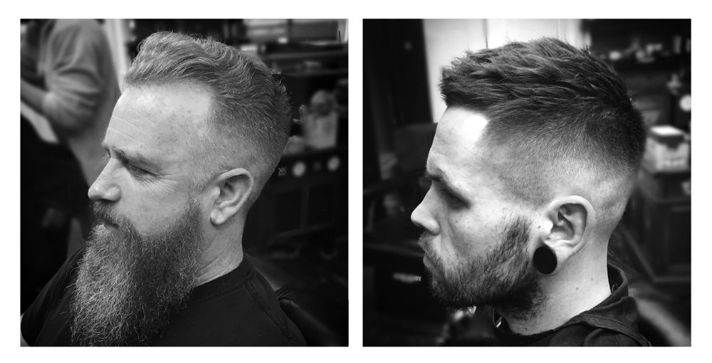 5. Small wavey pomp with a medium skin fade and beard shape.. Dried with medium heat, to not straighten out the waves and kept dry (no product).     6. High skin fade, fringe taken back to the hairline but left heavy and textured on top