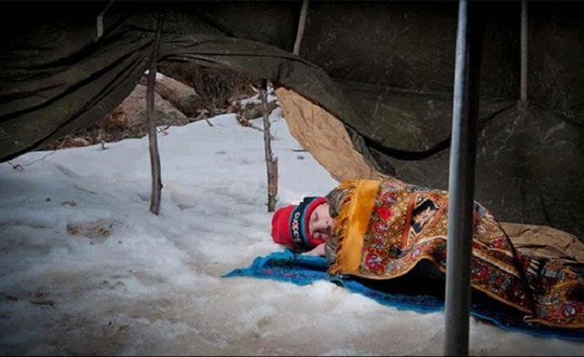This is a child sleeping in the snow at the camp that Nisreen and Shannon are raising funds for. Please think about donating if you can.