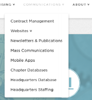 Mis-categorization - Some submenu categories were not relevant to the main nav they were under. For example, Contract Management, Databases, and Staffing shouldn't be under Communications.